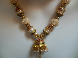 Gold-tone Glass Seed Bead Enamel Rhinestone Faux Pearl Bollywood Necklace   - $56.43