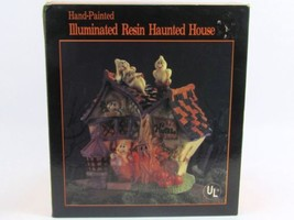 ILLUMINATED HALLOWEEN HAND PAINTED RESIN HAUNTED HOUSE BRAND NEW IN BOX - £8.63 GBP