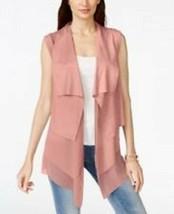 Suede Chiffon Vest Medium Pink Berry Tiered Layers Stretch Vakko INC $17... - $19.60