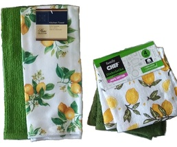 Lemon Kitchen Towel Set 6pc Towels Dish Cloths Dishcloth Citrus Yellow G... - $14.99