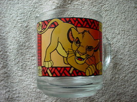 Disney The Lion King Simba Cub Clear Glass Coffee Mug Anchor Hocking 8 Oz - $18.69