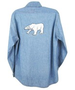 Vintage Levi's Chambray Blue Shirt M Polar Bear Embroidered 70s Men Xmas Winter - $74.20