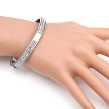 UE-Designer Silver Tone Hinged Bangle Bracelet With Swarovski Style Crys... - $19.99