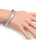 UE-Designer Silver Tone Hinged Bangle Bracelet With Swarovski Style Crys... - $19.99