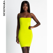 SEXEMARA Sexy Bandage Mini Neon Dress Women Tube Bodycon Dresses Party Night Cl - $24.30