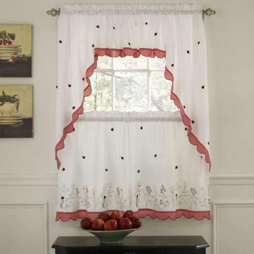 "Primary image for 36"" Tier, Swag & Valance Set Embroidered Ladybug Meadow Kitchen Curtains"