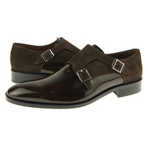 Brown Color Magnificiant Rounded Toe Leather Fashion Double Buckle Straps Monk - $139.90+