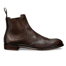 Handmade Men's Brown Leather Wing Tip Brogues High Ankle Chelsea Boots image 3
