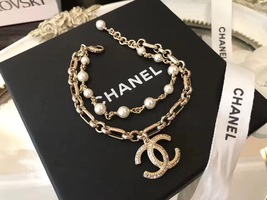 100% Authentic CHANEL 2017 Double Strand Pearl Bracelet CC Charm Gold