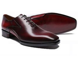 Handmade Men's Burgundy Leather Dress/Formal Slip Ons Oxford Shoes image 1