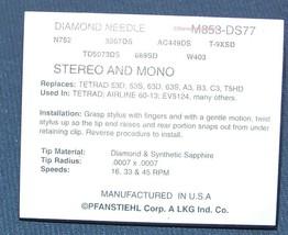 M853-DS77 S853 STYLUS NEEDLE T5HD for Tetrad T2MD T3MD Tetrad 11D 23D 22D 43D image 2