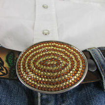Mode Cowgirl Homme Femme Boucle Ovale Western Métal Argent Marron Strass image 7