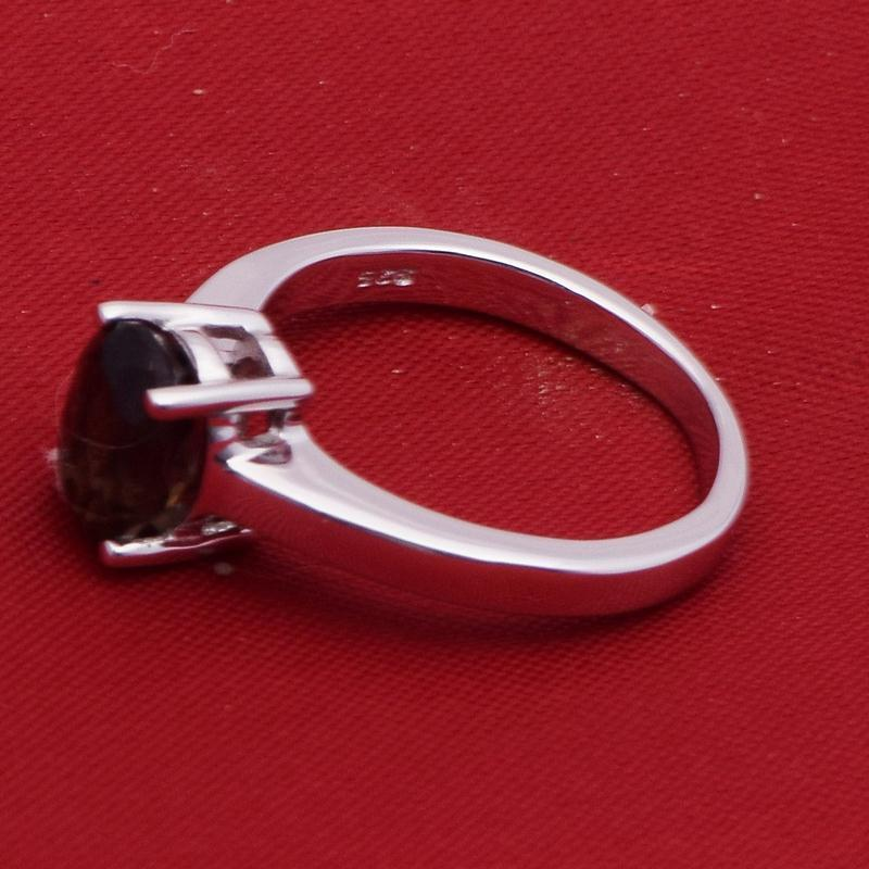 White Rhodium-Smoky Quartz 925 Sterling Silver Ring Jewelry Size-8 SHRI2432