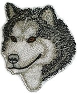 "Amazing Alaskan Malamute dog face Embroidery IronOn/Sew patch [3"" x 2.5""... - $6.92"