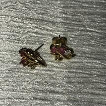 Vintage Dainty Pink & Clear Rhinestone Goldtone Flower Post Earrings for... - $8.59