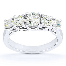 Round Cut Moissanite Anniversary 5-Stone Trellis Wedding Band in 14k Whi... - €547,08 EUR+