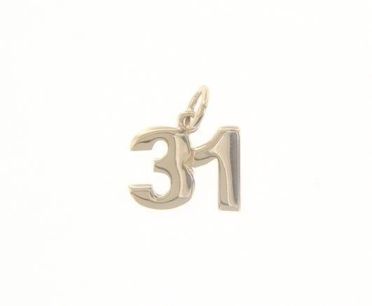 18K YELLOW GOLD NUMBER 31 THIRTY ONE PENDANT CHARM .7 INCHES 17 MM MADE IN ITALY