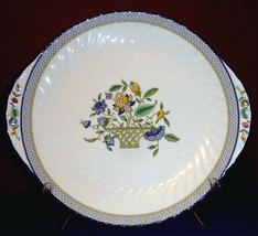 "Minton Haddon Hall Trellis Handled Plate 10.75"" Blue Rim Made in England - $36.90"
