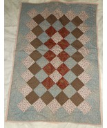 Handcrafted lavender pink floral lap baby quilt 30 x 43  - $35.00