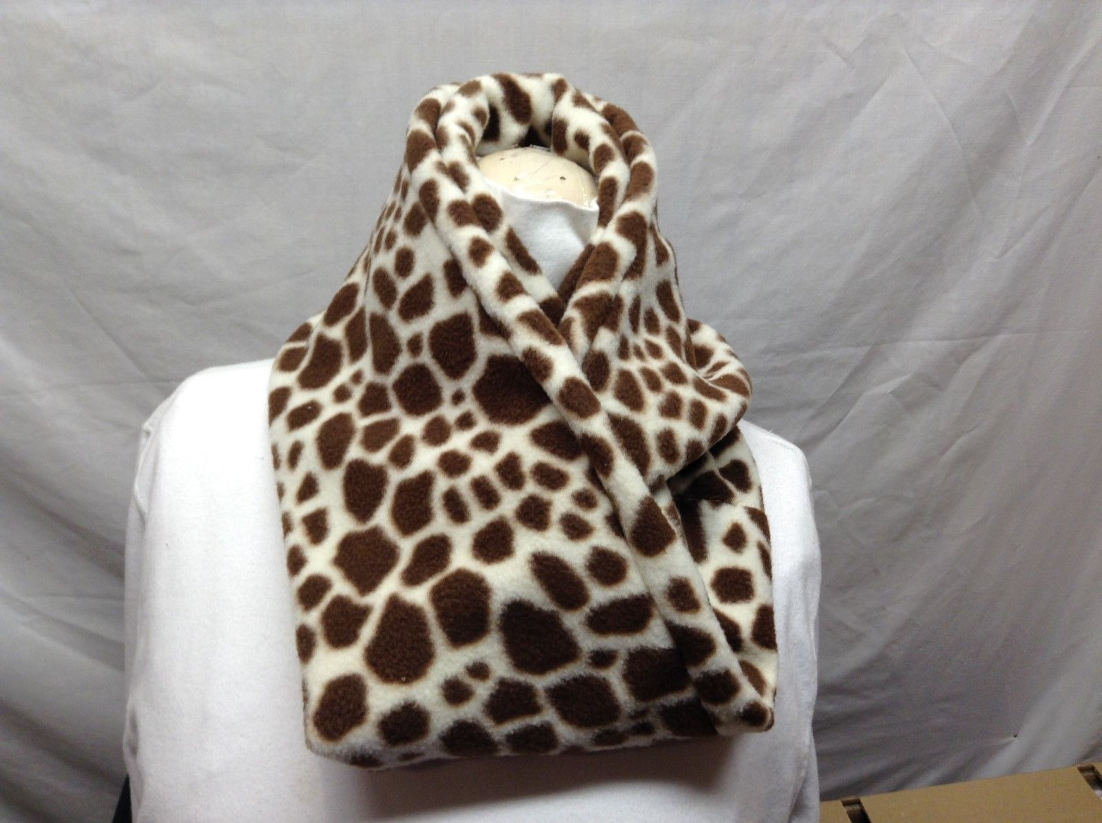 Cream/Brown Giraffe-like Print Infinity Scarf