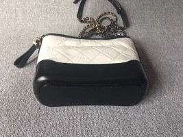 AUTHENTIC Chanel 2018 BLACK White Quilted Leather Small Gabrielle Hobo Bag GHW image 3