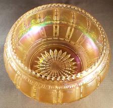 Vintage Imperial Glass Marigold Iridescent Beaded Block Bowl (circa 1930s) - $22.50