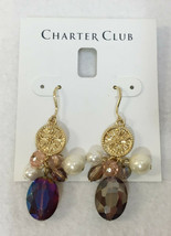 """Earrings Iridescent Faux Pearl Bead Coin Medallion Charter Club Dangling Drop 2"""" - $9.85"""