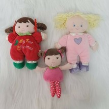 Baby Girl Infant Toy Lot Lovey Rattle Security Doll Prestige Garanimal Gund - $14.99