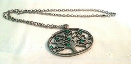"""Vintage Jewelry:27"""" Chain /W  Faux Pewter Tree Pendant  Necklace 2016041502 - $7.91"""