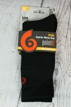 Point6 Kid's Crew Socks Ultra Light Size Small US 9 -11.5 Black Odor Con... - $11.87