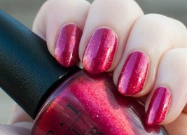 OPI Bond YOU ONLY LIVE TWICE Raspberry Pink Red Shimmer Nail Lacquer Pol... - $32.90
