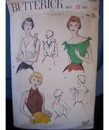 1950 Sexy Sleeveless Blouse Pattern - Sz 14/32 - $6.99
