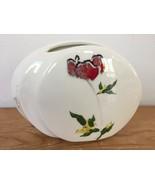 Vtg Barbara Baatz Handpainted Ikebana Poppy Signed Ceramic Wide Oval Flo... - $63.99