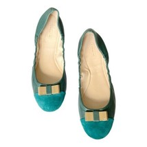 Coach Demi Ballet Flats Bluegrass Green Leather Suede Gold Bow Size 10 - $37.11