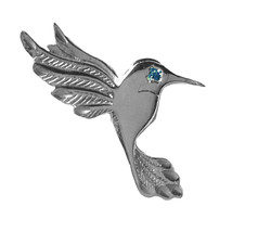 SALE America Humming bird charm Sterling Silver 925 Bird Jewelry Sapphir... - $29.50