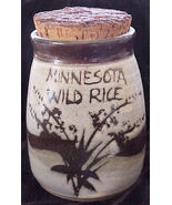Hand Made Pottery Minnesota Wild Rice Jar with Cork Lid - $10.20