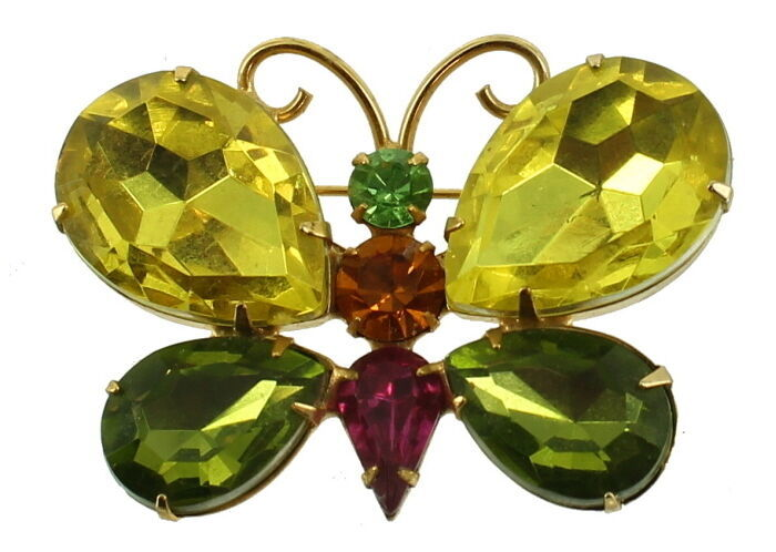 Primary image for VINTAGE JULIANA GORGEOUS GREEN PINK AMBER RHINESTONE BUTTERFLY PIN 2""