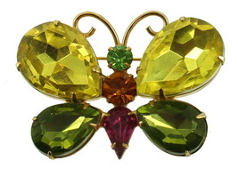 "VINTAGE JULIANA GORGEOUS GREEN PINK AMBER RHINESTONE BUTTERFLY PIN 2"" - $80.99"