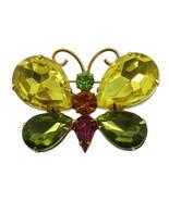 "VINTAGE JULIANA GORGEOUS GREEN PINK AMBER RHINESTONE BUTTERFLY PIN 2"" - $80.99"