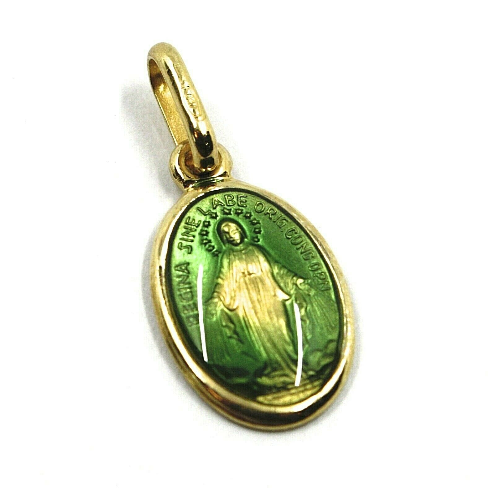 SOLID 18K YELLOW OVAL GOLD MEDAL, VIRGIN MARY 13mm, MIRACULOUS, GREEN ENAMEL