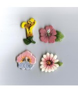 Handcrafted Decorative Ceramic buttons  Spring Flowers  - $8.00