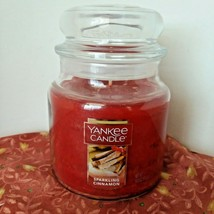 Yankee Candle SPARKLING CINNAMON Medium Jar 14.5 oz Burn Time 65 - 75 hr... - $10.88