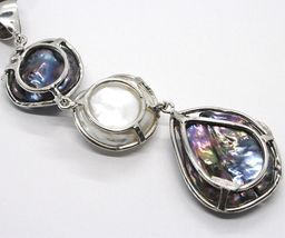 925 Sterling Silver, Three Pearls Baroque Style, Disco Drop, Zircon, image 5