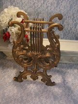 Vintage Home Interior Gold Cast Metal Harp Magazine Rack, Hollywood Rege... - $39.99