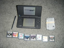 Nintendo DSi BLACK MATTE Handheld System Console also Lot of  8 Games ds - $52.26