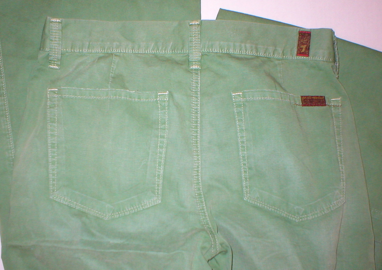 New mid rise 28 X 34 Womens 7 for all mankind green pants Putter medium Dark