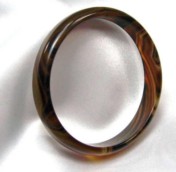 Unique genuine Gemstone  rich  BROWN AMBER Agate BANGLE BRACELET one size image 2