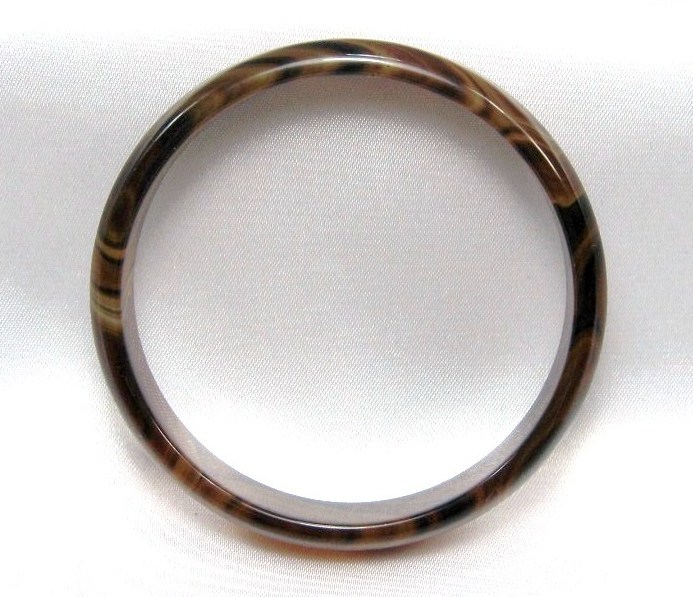 Unique genuine Gemstone  rich  BROWN AMBER Agate BANGLE BRACELET one size image 4