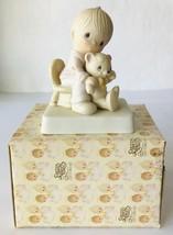 Precious Moments Bear Ye One Another's Burdens Boy & Teddy Bear E5200 1980 - $17.41