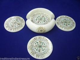 White Marble Tea Coffee Coaster Set Micro Mosaic Inlay Art Home Table Decorative - $147.52